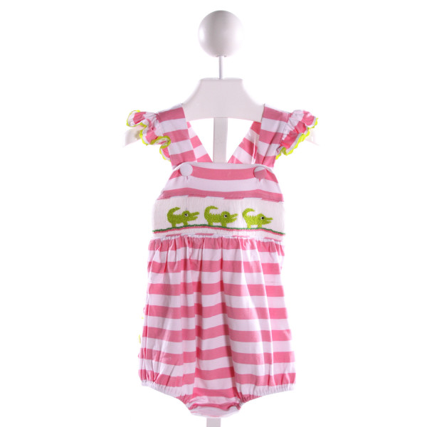 SMOCKED OR NOT  MULTI-COLOR KNIT STRIPED SMOCKED BUBBLE WITH RIC RAC