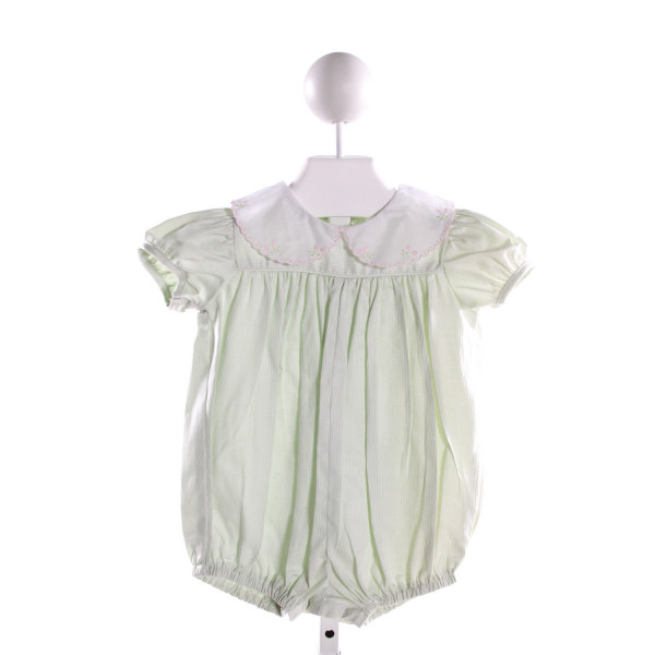 MARY & GRACE  MINT COTTON STRIPED EMBROIDERED BUBBLE