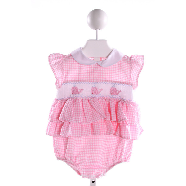 CLASSY COUTURE  PINK SEERSUCKER GINGHAM SMOCKED BUBBLE WITH RUFFLE