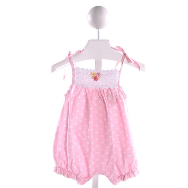 VICTORIA KIDS  PINK KNIT POLKA DOT EMBROIDERED ROMPER WITH RUFFLE