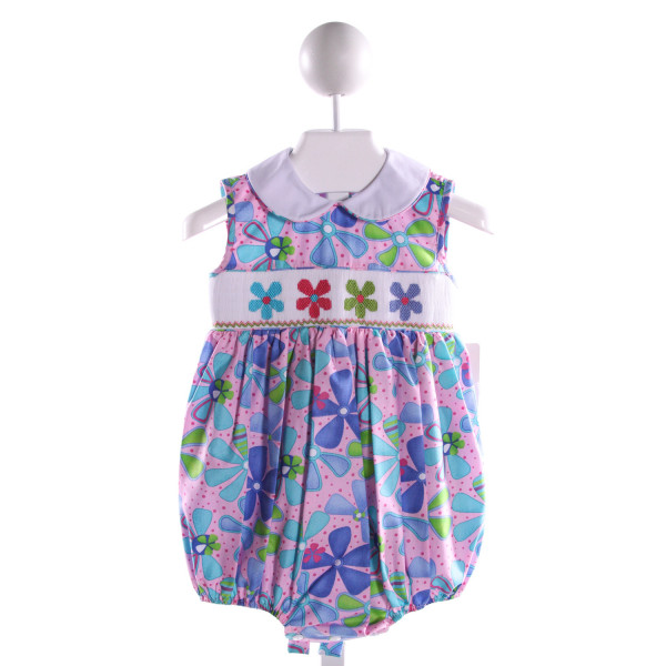 PETITE PALACE  MULTI-COLOR COTTON FLORAL SMOCKED BUBBLE