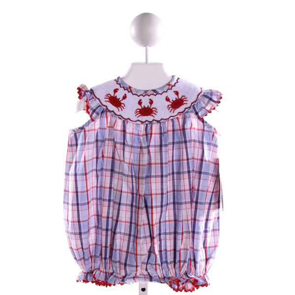 STELLYBELLY  MULTI-COLOR COTTON PLAID SMOCKED BUBBLE WITH RIC RAC