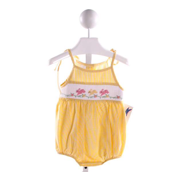 SILLY GOOSE  YELLOW COTTON GINGHAM SMOCKED BUBBLE