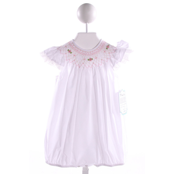 REMEMBER NGUYEN  WHITE COTTON  SMOCKED BUBBLE WITH LACE TRIM