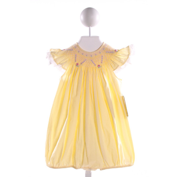 REMEMBER NGUYEN  YELLOW COTTON  SMOCKED BUBBLE WITH LACE TRIM
