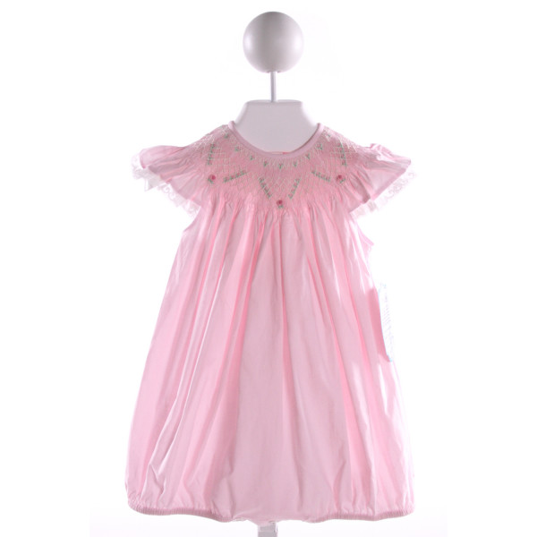 REMEMBER NGUYEN  PINK COTTON  SMOCKED BUBBLE WITH LACE TRIM