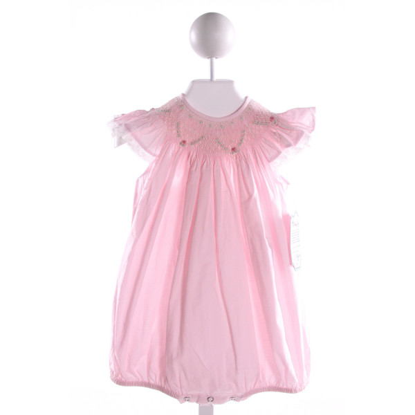 REMEMBER NGUYEN  LT PINK COTTON  SMOCKED BUBBLE WITH LACE TRIM