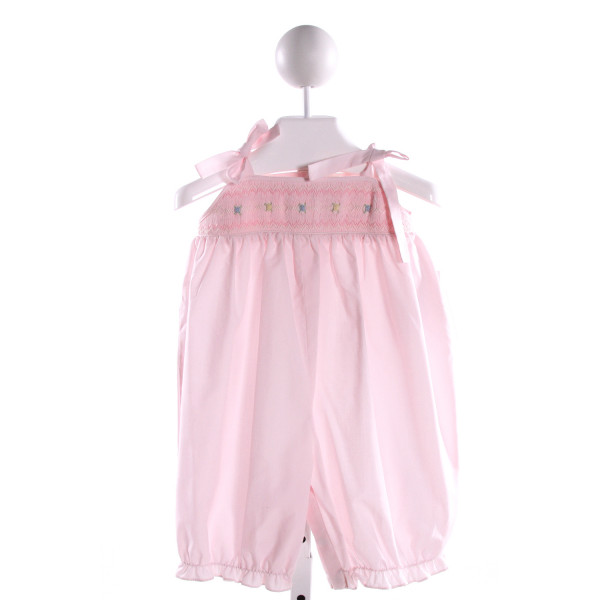 ROSALINA  LT PINK COTTON  SMOCKED ROMPER WITH RUFFLE