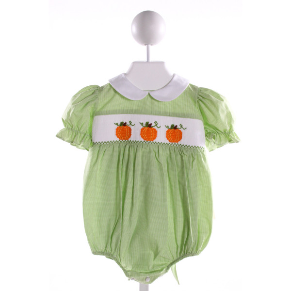 SILLY GOOSE  GREEN COTTON MICROCHECK SMOCKED BUBBLE WITH RUFFLE