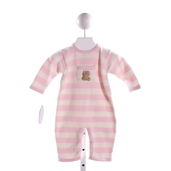 HUG ME FIRST PINK STRIPED SWEATER KNIT ROMPER