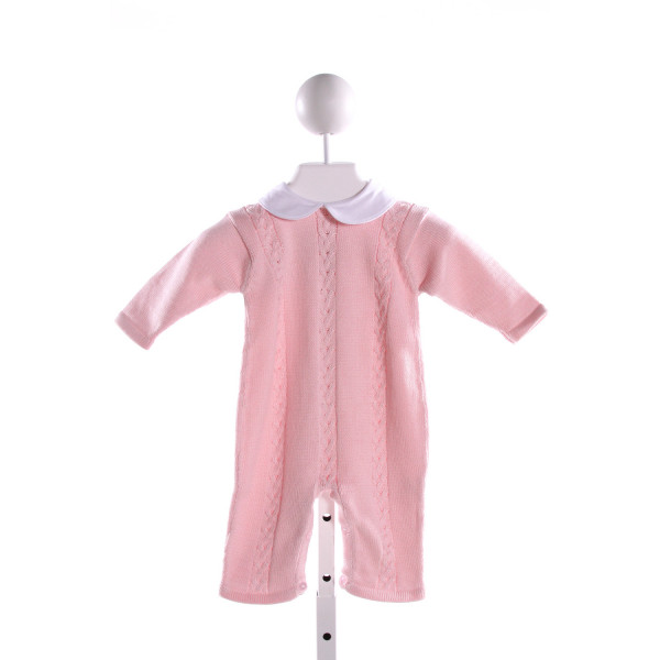 HUG ME FIRST PINK CABLE SWEATER KNIT ROMPER WITH PETER PAN COLLAR