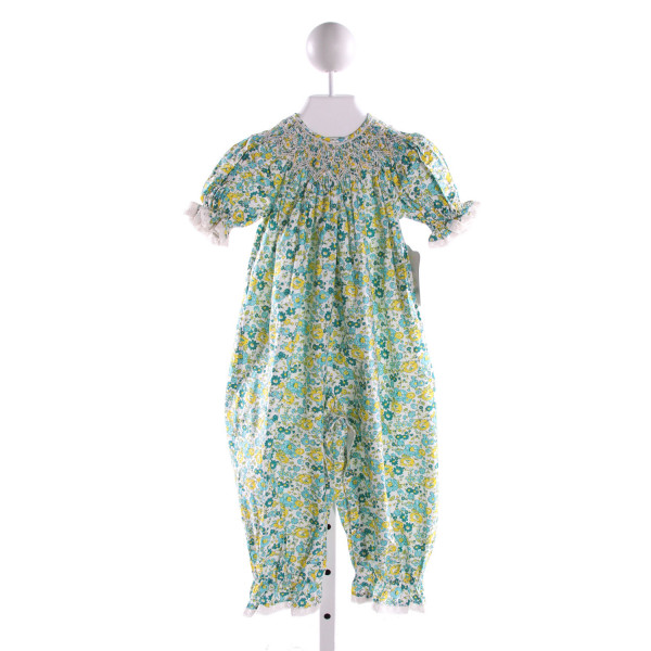 REMEMBER NGUYEN  MULTI-COLOR COTTON FLORAL SMOCKED ROMPER WITH LACE TRIM