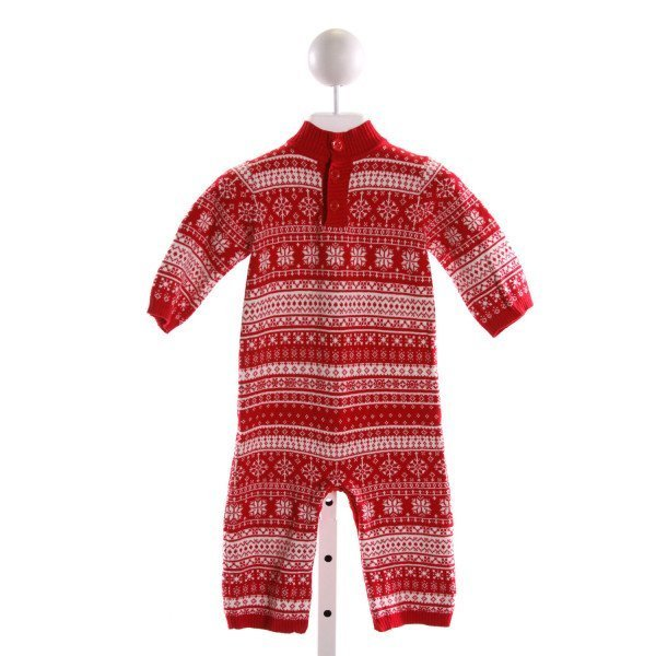 HARTSTRINGS  RED SWEATER KNIT  PRINTED DESIGN LONGALL/ROMPER