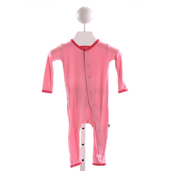 KICKEE PANTS  PINK KNIT  EMBROIDERED KNIT ROMPER