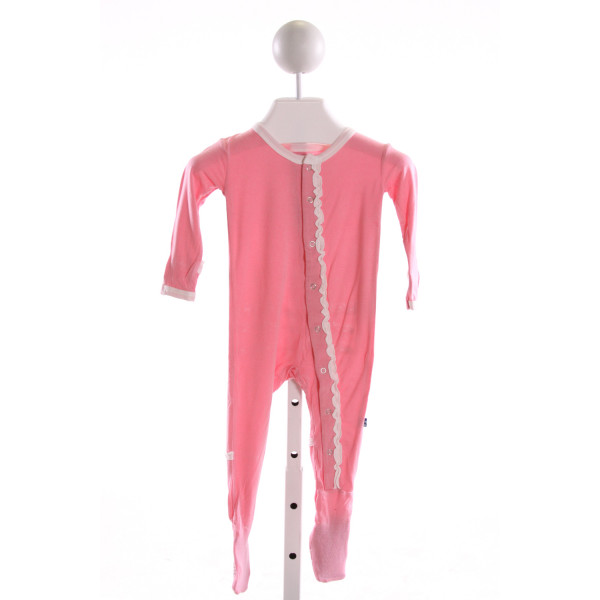 KICKEE PANTS  LT PINK KNIT   KNIT ROMPER WITH RUFFLE