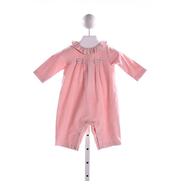 PETIT CONFECTIONS  PINK KNIT STRIPED APPLIQUED ROMPER WITH RUFFLE