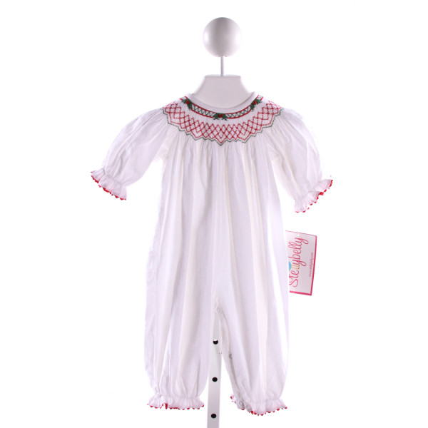 STELLYBELLY  WHITE CORDUROY  SMOCKED ROMPER WITH RIC RAC