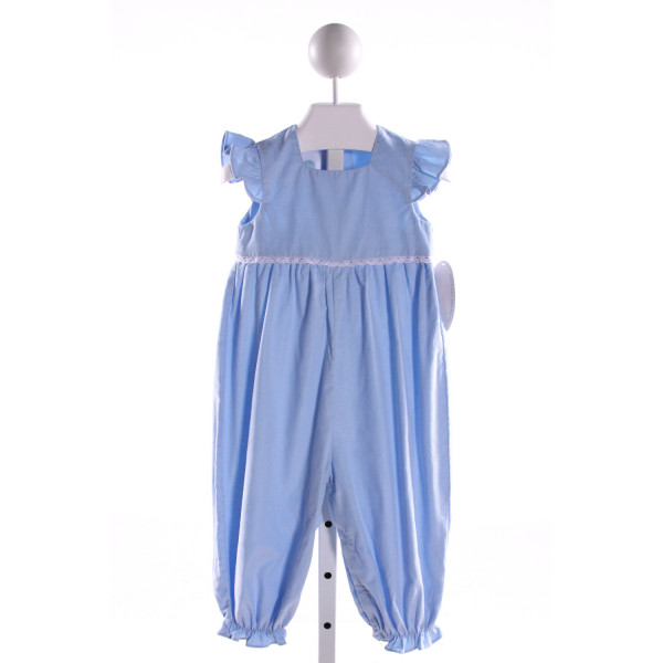 LULLABY SET  LT BLUE CORDUROY  EMBROIDERED ROMPER WITH RUFFLE