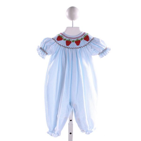 CLASSY COUTURE  LT BLUE SEERSUCKER STRIPED SMOCKED ROMPER WITH RUFFLE