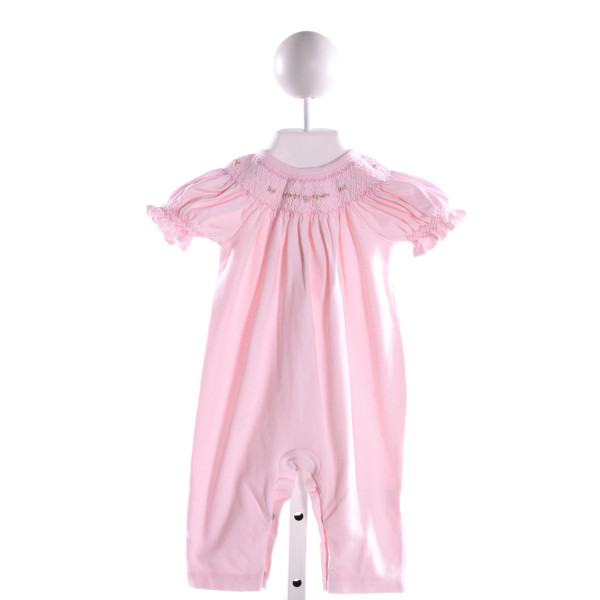 HUG ME FIRST  LT PINK KNIT  SMOCKED LAYETTE WITH RUFFLE