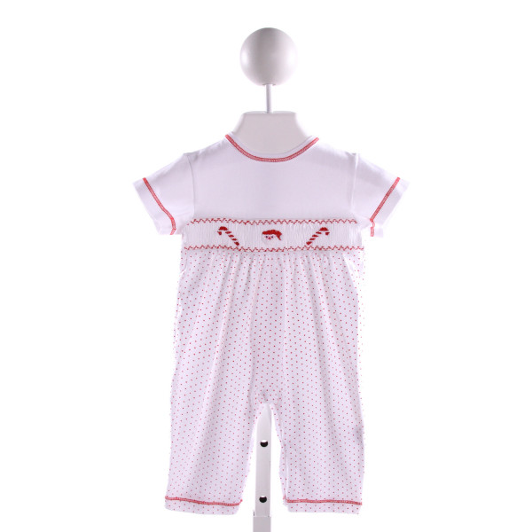 HUG ME FIRST  MULTI-COLOR KNIT POLKA DOT SMOCKED ROMPER