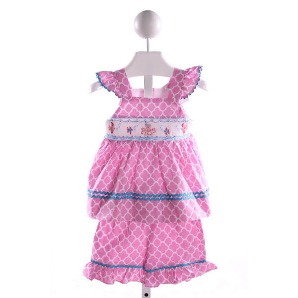 SMOCKED OR NOT  MULTI-COLOR  PRINT SMOCKED 2-PIECE OUTFIT WITH RIC RAC