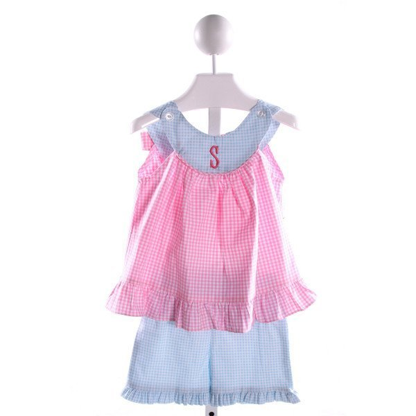 SOUTHERN SUNSHINE KIDS  MULTI-COLOR  GINGHAM EMBROIDERED 2-PIECE OUTFIT WITH RUFFLE