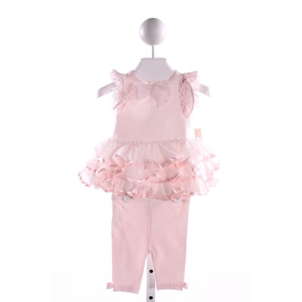 MINICLASIX  LT PINK TULLE  APPLIQUED 2-PIECE OUTFIT WITH RUFFLE