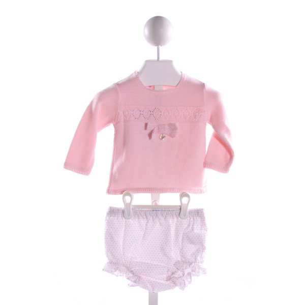 FOQUE  PINK  POLKA DOT EMBROIDERED 2-PIECE OUTFIT WITH RUFFLE