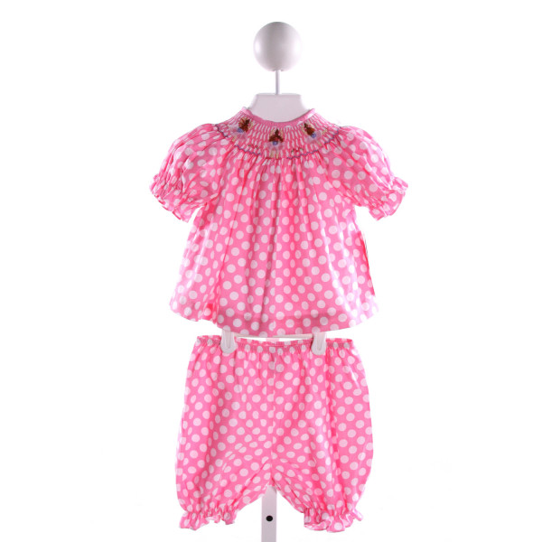 VIVE LA FETE  PINK  POLKA DOT SMOCKED 2-PIECE OUTFIT WITH RUFFLE