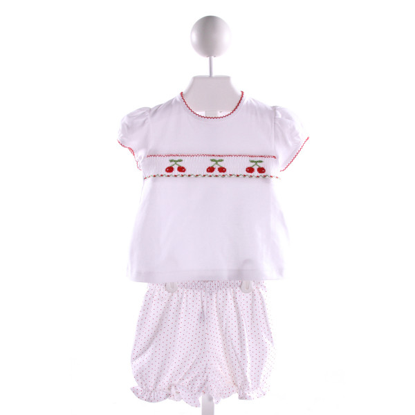 CLASSY COUTURE  MULTI-COLOR  POLKA DOT SMOCKED 2-PIECE OUTFIT WITH PICOT STITCHING