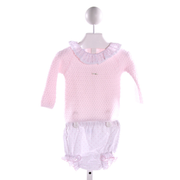 FOQUE  LT PINK  SWISS DOT EMBROIDERED 2-PIECE OUTFIT WITH RUFFLE
