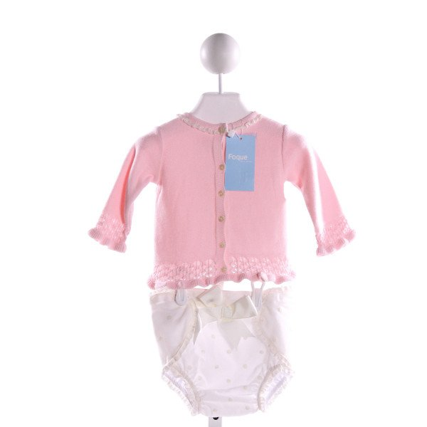 FOQUE  PINK  POLKA DOT EMBROIDERED 2-PIECE OUTFIT WITH LACE TRIM