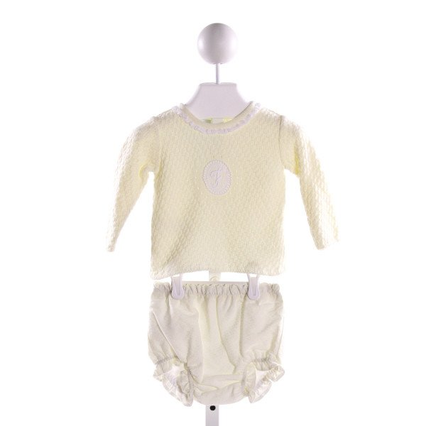FOQUE  PALE YELLOW  POLKA DOT EMBROIDERED 2-PIECE OUTFIT WITH LACE TRIM