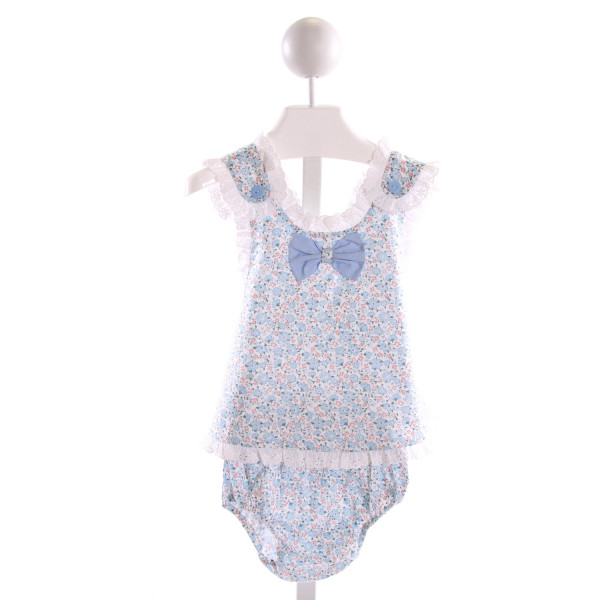 LES PETITS SOLEILS  MULTI-COLOR  FLORAL  2-PIECE OUTFIT WITH EYELET TRIM
