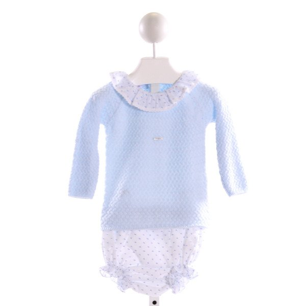 FOQUE  LT BLUE  SWISS DOT EMBROIDERED 2-PIECE OUTFIT WITH RUFFLE