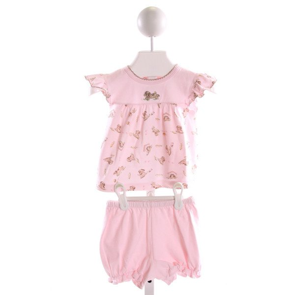 HUG ME FIRST  MULTI-COLOR   PRINTED DESIGN 2-PIECE OUTFIT WITH PICOT STITCHING