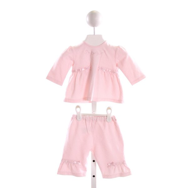 EMILE ET ROSE  PINK KNIT  EMBROIDERED 2-PIECE OUTFIT WITH RUFFLE