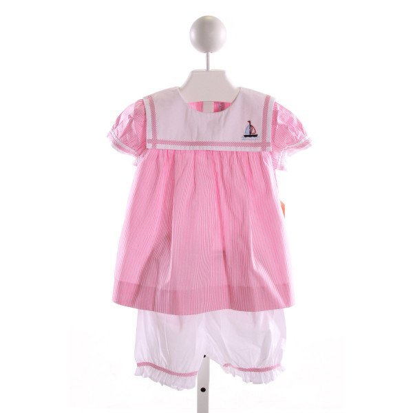 FANTAISIE KIDS  PINK  STRIPED EMBROIDERED 2-PIECE OUTFIT WITH RUFFLE