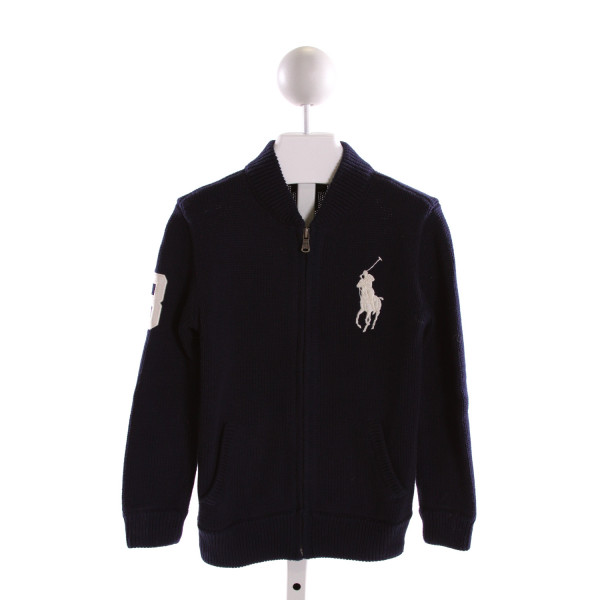 POLO BY RALPH LAUREN  NAVY SWEATER KNIT  EMBROIDERED OUTERWEAR
