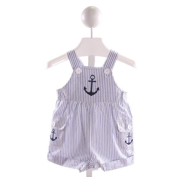 FANTAISIE KIDS  BLUE SEERSUCKER STRIPED EMBROIDERED JOHN JOHN/ SHORTALL