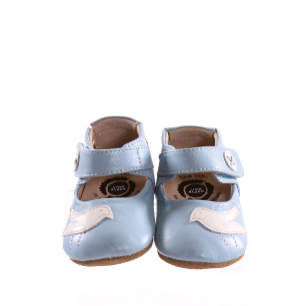 LIVIE & LUCA BLUE SHOES WITH BIRDS *SIZE 6-12 MONTHS = APPROX SIZE 3, VGU - TINY SCUFF