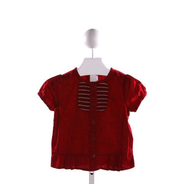 JANIE AND JACK  RED   SMOCKED CLOTH SS SHIRT WITH RUFFLE