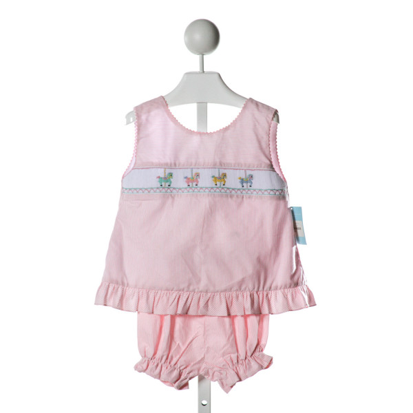 ANAVINI  PINK  STRIPED SMOCKED 2-PIECE OUTFIT WITH RIC RAC