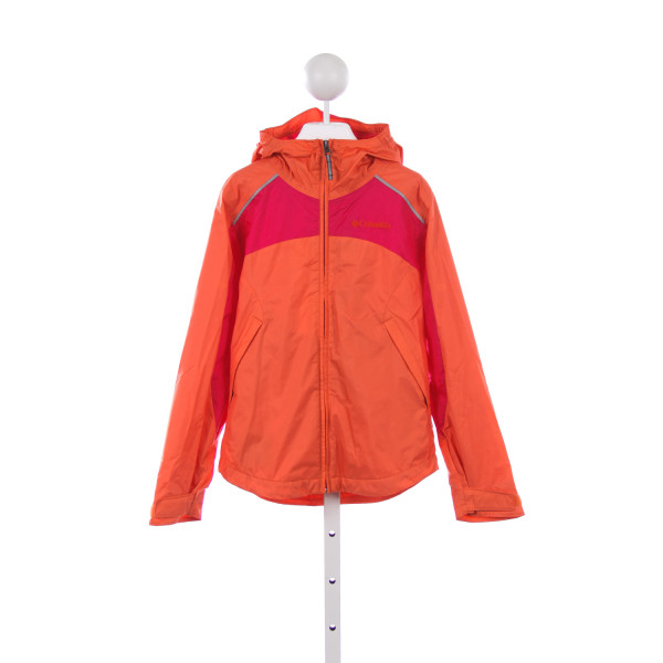COLUMBIA ORANGE AND HOT PINK RAIN JACKET *SIZE S(7/8)
