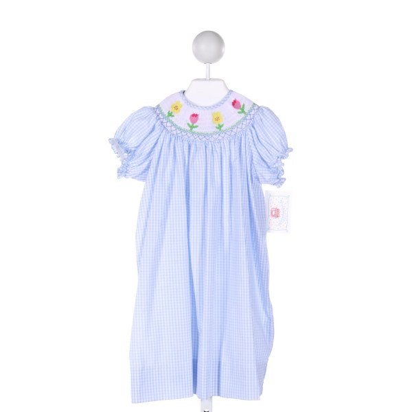 MARMELLATA  LT BLUE  GINGHAM SMOCKED DRESS WITH RUFFLE