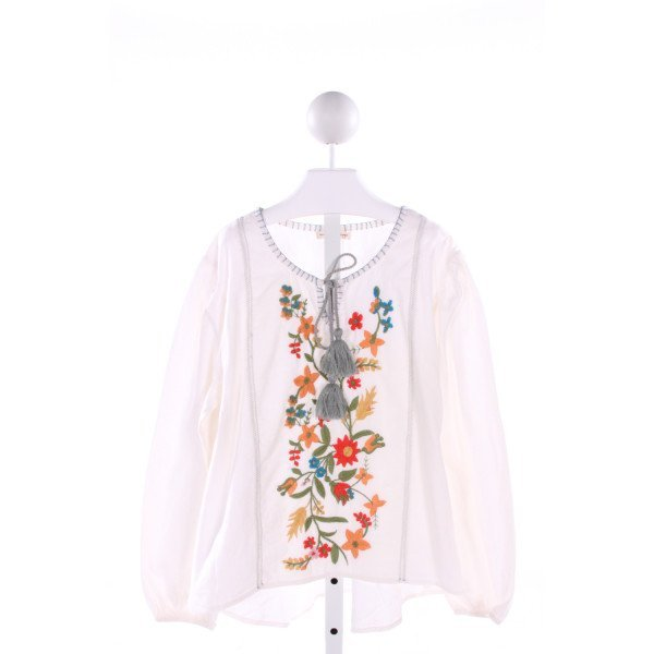 MIMI AND MAGGIE  IVORY   EMBROIDERED CLOTH LS SHIRT