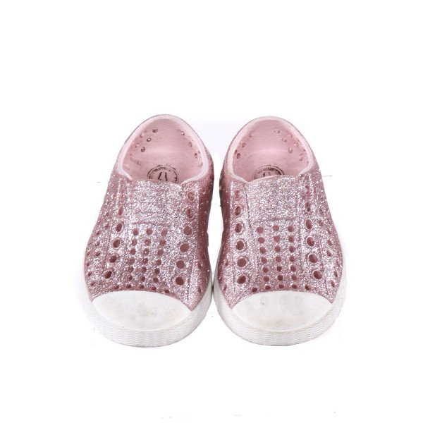 NATIVE PINK GLITTER SLIP-ON SHOES *SIZE 4, GUC - SCUFF MARKS