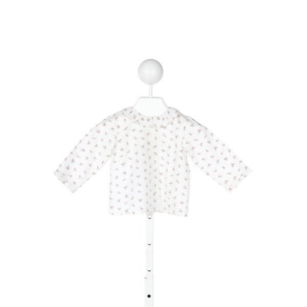BONPOINT  IVORY  FLORAL  CLOTH LS SHIRT WITH RUFFLE