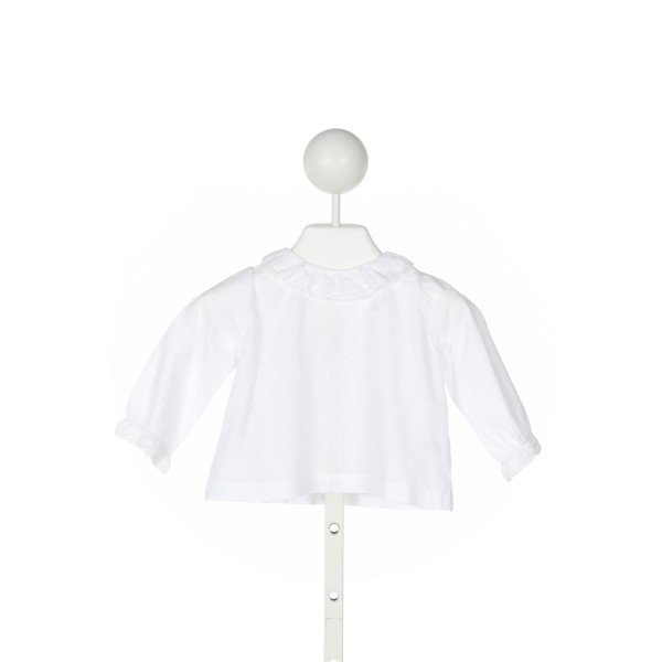 PETITE LUCETTE  WHITE  SWISS DOT  KNIT LS SHIRT WITH LACE TRIM